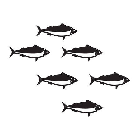 Silhouettes sardine run vector illustration in black and white. Outline fish shoal isolated on white background. Herring or anchovy school in flat design.