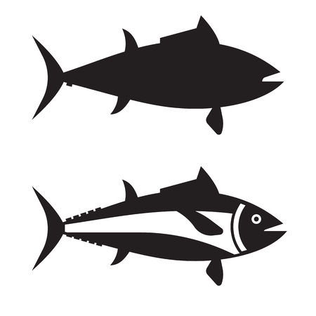 Silhouette of tuna ocean fish vector icon in outline design. Big tunny logo or label template isolated on white background.