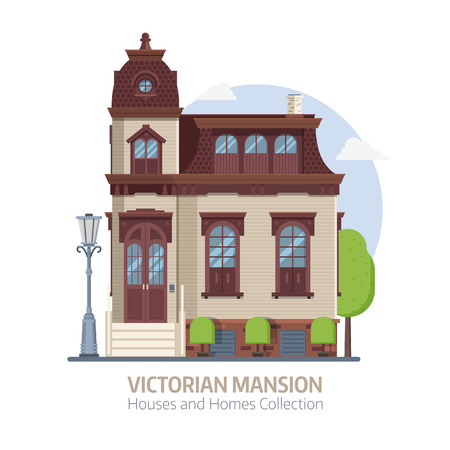 Old mansion building exterior. Classic victorian house or colonial style home with front porch. English manor vector illustration in flat design. Çizim