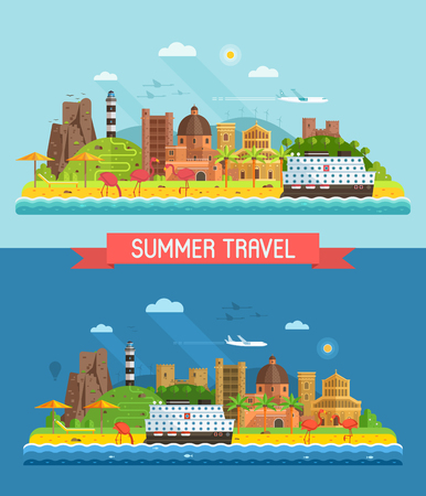Travel summer island background or banner in flat design inspired by Cagliari, Sardinia. Abstract seaside town coastal landscape with mediterranian coastline, beach town, cruise ship and lighthouse.