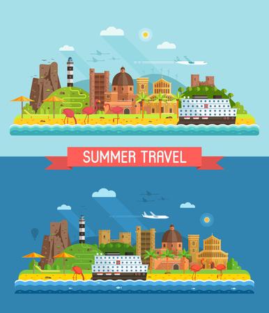 여행 여름 섬 배경 또는 배너 플랫 디자인에서 칼리아리, 사르데냐에 의해 영감을 된. Mediterranian 해안선, 비치 타운, 크루즈 선박 및 등 대 추상 해변 마