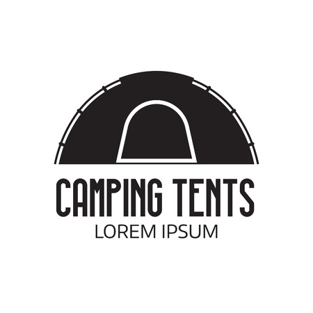 Camping tent place or label template. Outline tepee icon. Hiking and camping tent .