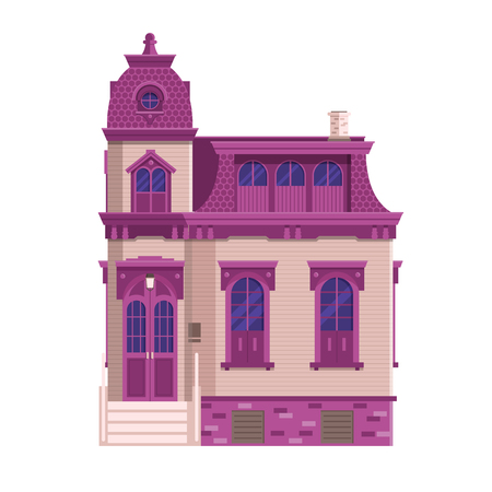 Old mansion building isolated on white background. Classic victorian house or colonial style home with front porch. English manor vector illustration in flat design. Çizim