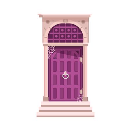 오래 된 빅토리아 정문 및 현관 흰색 배경에 고립. 거미줄과 함께 버려진 된 집에 doorknocker 입구. 일러스트