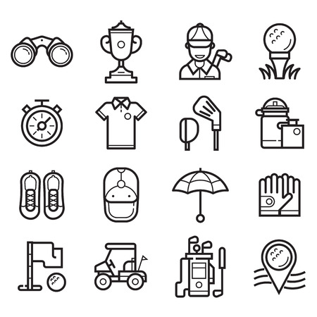 black hole: Golf icons set in line art style. Golf club, ball, golfer, bag, umbrella and other elements and accessories.