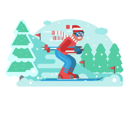 Smiling cross country skier riding on ski track on snowy winter background. Mountain skiing competition concept illustration with sportsman in motion.Young man on skis moving across snow forest scene.
