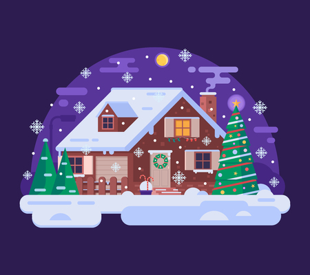 Winter house with smoking chimney and Xmas decorations.Snowy christmas cottage. New Year night background. Mountain chalet landscape. Wintertime country home with ornaments, pine tree and snow drifts.