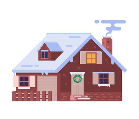 Maison d'hiver avec illustration vectorielle de fumer la cheminée. Chalet de Noël enneigé isolé sur fond blanc. Immeuble de chalet Alpian. Maison en pierre de pays d'hiver avec des décorations et des dérives de neige. Banque d'images - 88413777