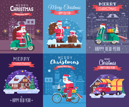Merry Christmas and Happy New Year greeting cards set with different europe winter holidays backgrounds. Snow house, Santa Claus delivery Xmas gift box and snow scooter delivering presents concepts. Stock Photo