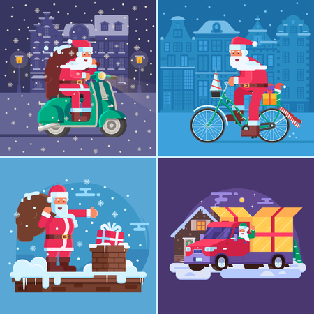 Christmas gift delivery concept illustrations with Santa Claus driving Xmas presents on scooter, santa bicycle, van and putting into snow chimney. Winter delivering service advertisement backgrounds.