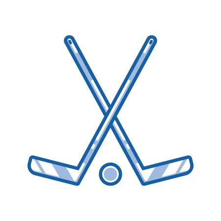 icehockey: Crossed hockey sticks and puck icon in line art. Ice-hockey championship logo or label template in outline design.