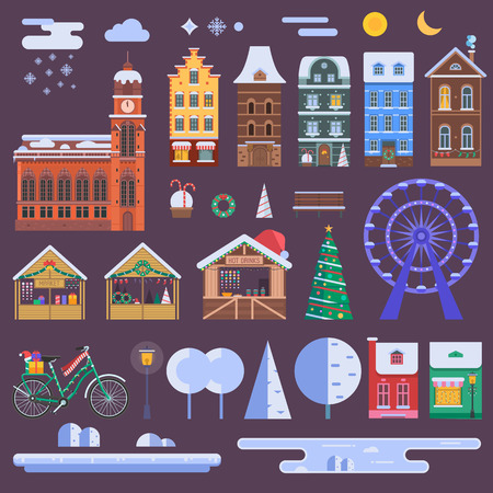 WInter city constructor set with european christmas houses, festive market objects, Xmas decorations and other details. Europe town landscape creator with urban map and infographic elements.