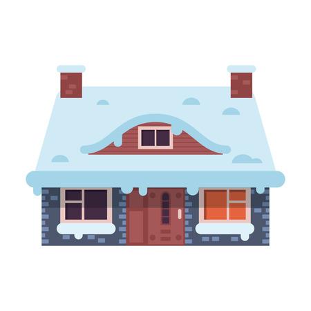 Maison d'hiver de pain d'épice avec icône de cheminée Banque d'images - 90335532