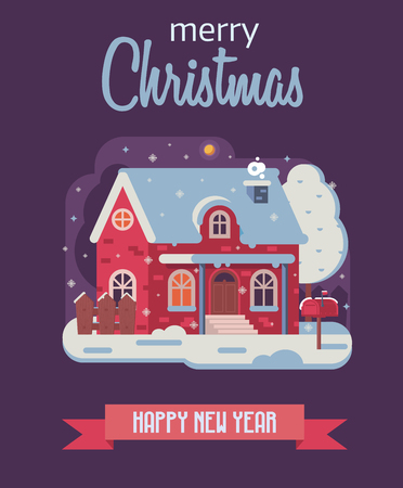 Merry Christmas and Happy New Year card with night rural scene and winter house with smoking chimney