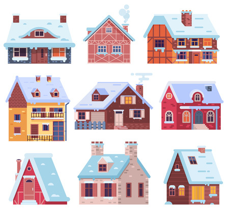 Cartoon snow home and rural cottages set