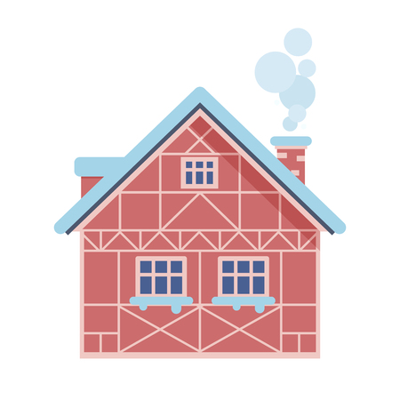 Countryside winter house with smoking chimney icon. Half-timbered home or rural snow cottage building in cartoon style. Alpian chalet isolated on white background.