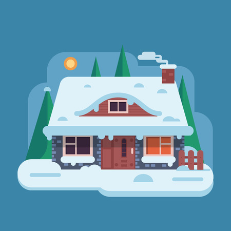 Snowy scene with farm winter home with smoking chimney on rural background. Forest cottage or traditional farmhouse on countryside area by wintertime. Cartoon snow capped house landscape banner. Stock Photo