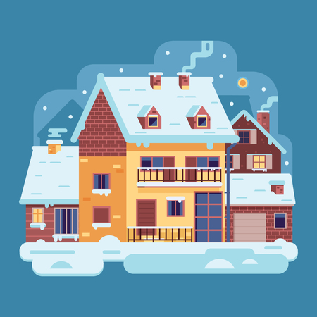 Snowy scene with country winter home with smoking chimney on village background. Cozy cottage or traditional farmhouse on countryside area by wintertime. Cartoon snow capped house landscape banner.