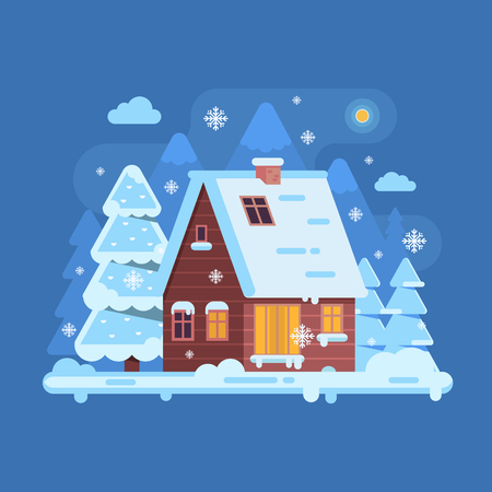 Snowy scene with rural winter home with smoking chimney on mountain background. Forest cottage or log cabin on wilderness by wintertime. Cartoon snow capped house landscape banner.