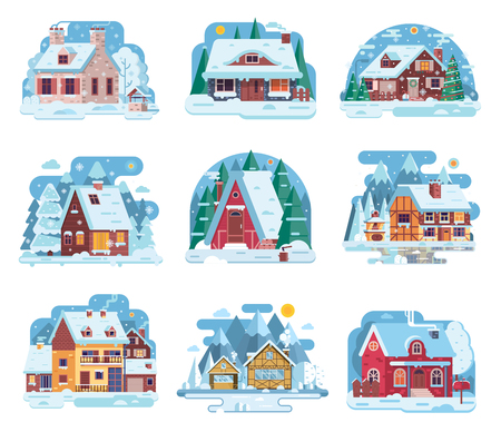 Winter country houses and cabins collection. Cartoon snow homes and rural cottages set. Including wooden chalet, mountain lodge, half-timbered mountain house and other snowy buildings in flat design.