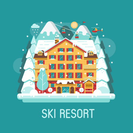 Ski resort landscape in flat design. Cartoon winter mountain hotel abstract background. Snowy peaks, inn building and funiculars on Alps forest area. Winter holidays in the mountains concept banner.