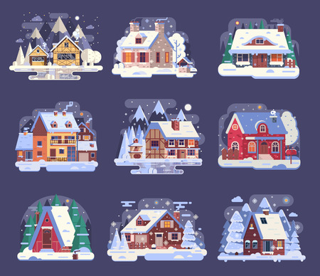 겨울 나라 주택과 캐빈 컬렉션입니다. 만화 눈이 주택 및 시골 별장 설정합니다. 목조 샬레, 산악 오두막집, 평평한 디자인의 밤 하프 목조 산악 지역