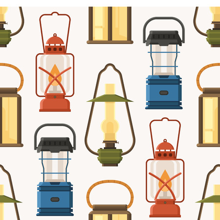 Vintage camping lantern pattern in flat design. Retro oil lamps and gas lanterns seamless background.