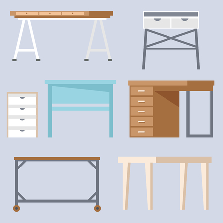 Home room and office desks and tables collection vector illustration set