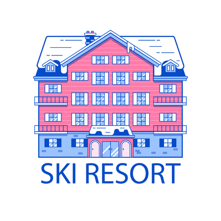 Abstract spa and ski resort emblem in line art design vector illustration