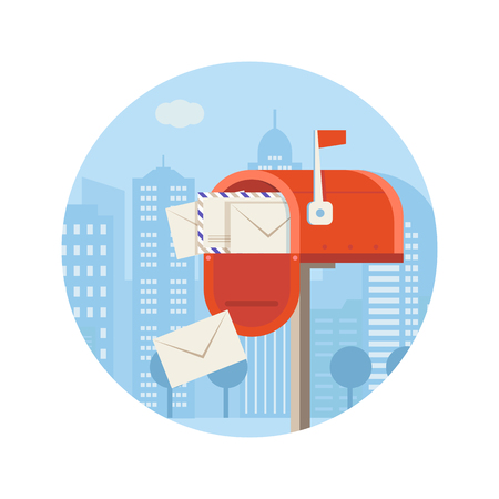 Getting mail vector icon. Mailbox full of envelopes illustration in flat design.City postal service concept with opened postbox. Red letterbox with correspondence. Stock Photo