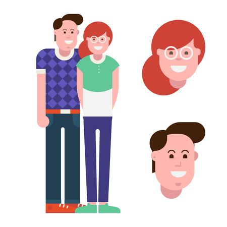 Loving couple isolated on white background. Cartoon happy man and woman standing and smiling. Enamored pair vector illustration. Young boy and girl avatars.
