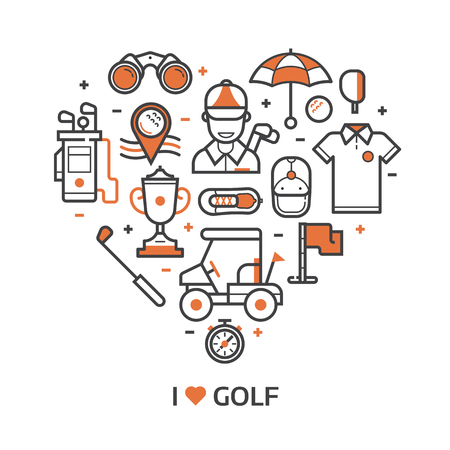 Golf icons set in line art style. I love golf concept pattern with ball, golfer, bag, umbrella and other elements and accessories stylized in heart shape. Print or card in outline design.