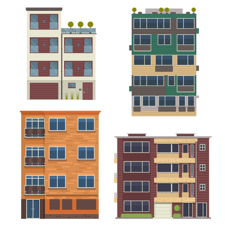 Modern block city apartment buildings for town constructor or real estate agency. Minimalist multistory living houses with balconies vector illustration in flat design. Bauhaus urban homes set. 스톡 콘텐츠