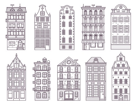 Traditional scandinavian and old europe house collection in thin line design. Traditional Amsterdam and Stockholm residential merchant homes, classic historic european townhouse buildings in lineart. Standard-Bild - 94532335
