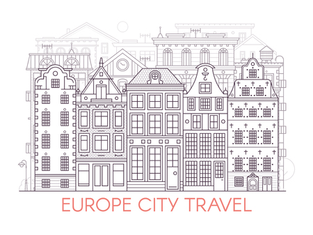 Monochrome Europe city street banner with classic european houses facades. Old town neighborhood skyline with old townhouse residential buildings in line art. Outline Stockholm or Amsterdam cityscape.