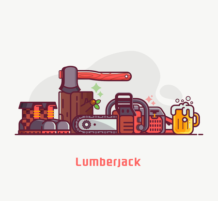 Forestry and tree surgeon concept banner with lumberjack lifestyle equipment and items. Chainsaw, woodcutter boots, log and hatchet. Professional logger tools pile. Sawmill background in flat design.