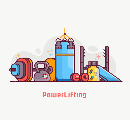 Weightlifting and powerlifting lifestyle banner with weight and strength training equipment. Such as dumbbell, barbell, punching bag and kettlebell weight. Body building and gym concept illustration.