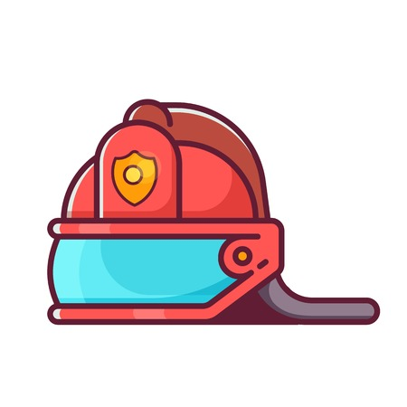Firefighter helmet isolated on white background. Red fireman hat icon in flat design.