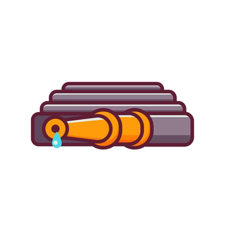 Convoluted garden hose icon. Watering hosepipe sprayer vector illustration. 일러스트