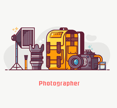 Digital photography lifestyle with professional photographer equipment. Such as camera, lens, softbox, cleaning kit and photo bag. Photostudio concept banner in flat design. Stock Photo