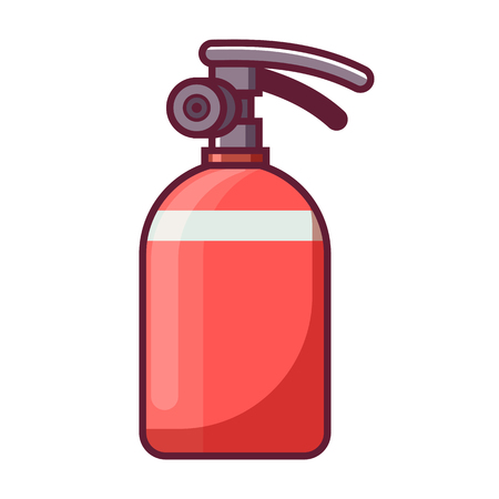 Red fire extinguisher icon in flat design. Stock Photo