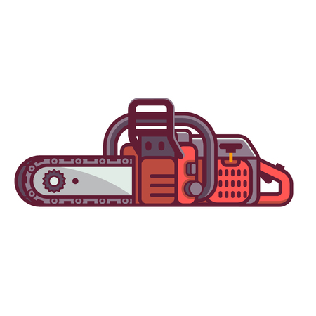 Red chainsaw vector icon in flat design. Electric saw isolated on white background.