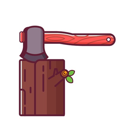 Axe stuck in wood. Chopping firewood icon. Hatchet and log in flat design.