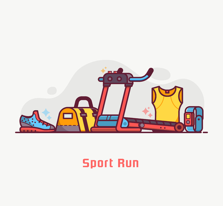 Fitness and running lifestyle background with sport run equipment and accessories. Treadmill, bag, wristwatch and jogging boots. Sports and activity concept in flat design. Stock Photo