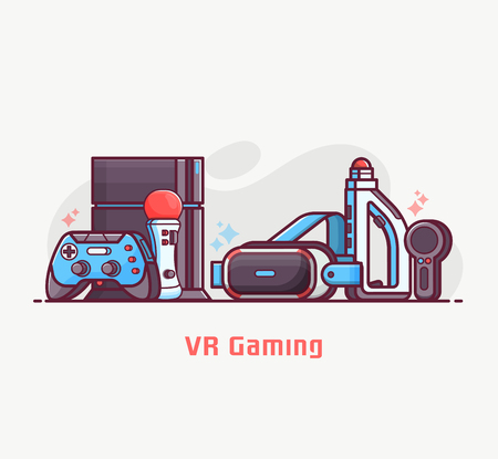 Augmented reality and virtual gaming lifestyle illustration with VR devices and gadgets. Cyberspace and virtual reality concept banner with gamer elements. Such as headset, controllers and console.