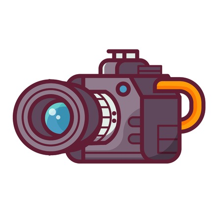 Modern DSLR camera icon. Photo camera with zoom lens, isolated on white background.