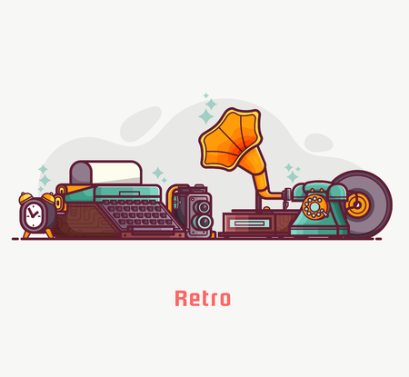 Vintage things and objects. Flea market or antiques shop banner. Old rarity elements for entertainment with lens camera, gramophone, typewriter and telephone. Abstract retro tech concept background. Stock Photo