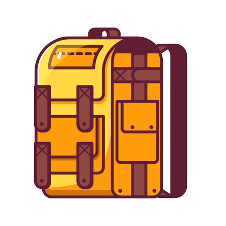 Hiking backpack in flat design.Yellow tourist rucksack for hike and active lifestyle. Outline back pack icon.