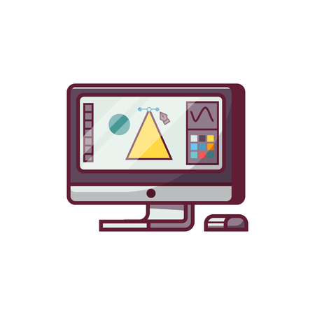 Digital drawing working process with screen and graphic redactor interface. Professional designer monitor icon.