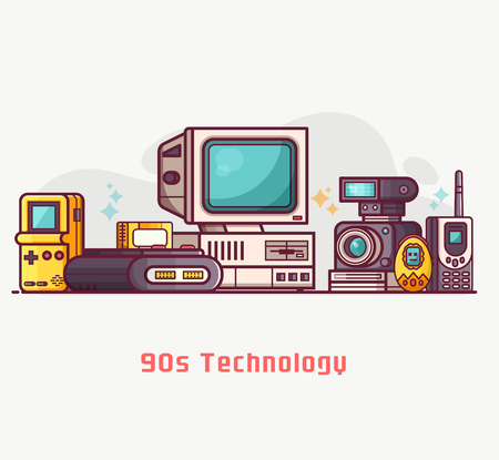 Vintage 90s technology banner. Nineties multimedia electronic entertainment gadgets with camera, old computer, game console and cellphone. Abstract retro tech devices concept background in flat design.